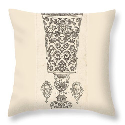 Throw Pillow featuring the drawing Goblet With Base Decorated With Two Large Scallops by Georg Wechter I