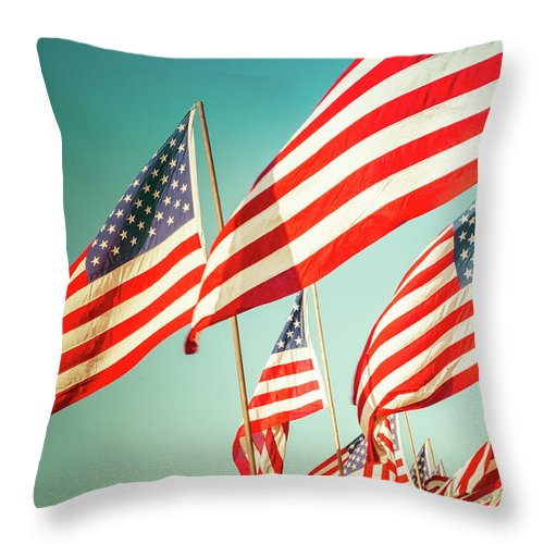 American Flag Throw Pillow featuring the photograph God Bless America by Debi Bishop