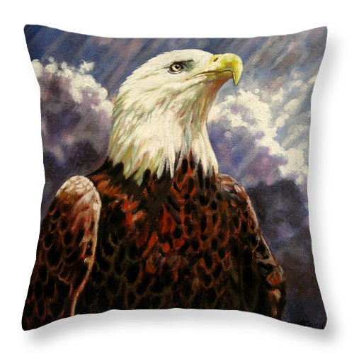 American Bald Eagle Throw Pillow featuring the painting God Bless America by John Lautermilch