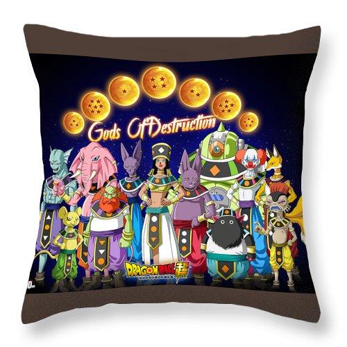 Goku New Form Throw Pillow featuring the digital art God Of Destruction by Babbal Kumar
