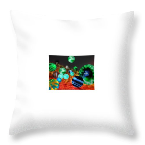 A Tribute To Donovan And His Song cosmic Wheels. A Line In The Song...god Is Playing Marbles With Throw Pillow featuring the digital art God Playing Marbles Tribute To Donovan by Seth Weaver