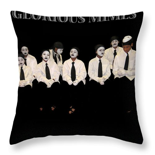 Young Mimes Waiting To Perform For God Throw Pillow featuring the photograph God by Reggie Duffie