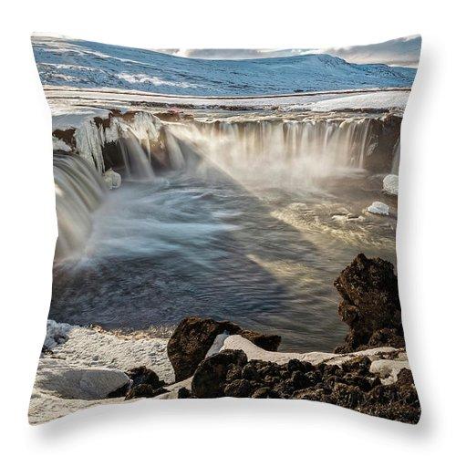 Waterfall Throw Pillow featuring the photograph Godafoss Waterfall by Davide Gennari