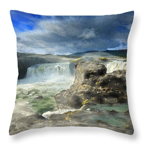 Iceland Throw Pillow featuring the painting Godafoss Waterfall Iceland by Elizabetha Fox