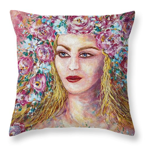 Goddess Of Good Fortune Throw Pillow featuring the painting Goddess Of Good Fortune by Natalie Holland
