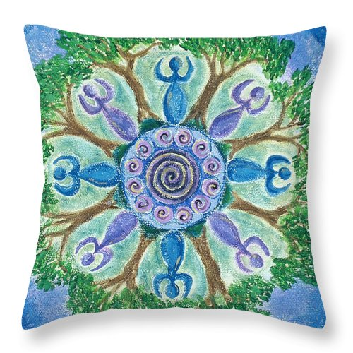 Goddess Throw Pillow featuring the painting Goddesses Dancing by Charlotte Backman
