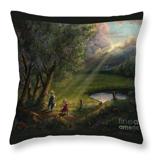 Landscape Throw Pillow featuring the painting Gods Light by Timothy Tron