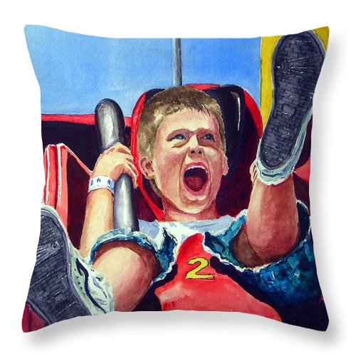 Boy Throw Pillow featuring the painting Goin' Down by Sam Sidders