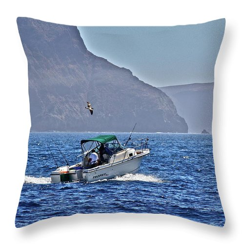 Ocean Throw Pillow featuring the photograph Going Fishing by Diana Hatcher