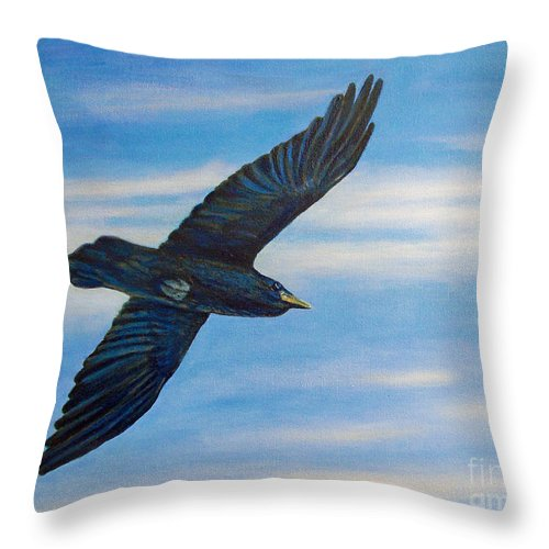 Bird Throw Pillow featuring the painting Going Home by Brian Commerford