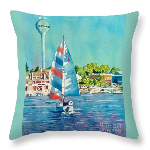 Sailboats Throw Pillow featuring the painting Going Home by LeAnne Sowa