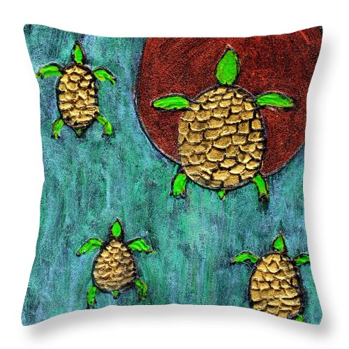 Sea Turtle Throw Pillow featuring the painting Going Home by Wayne Potrafka