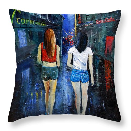 Girl Throw Pillow featuring the painting Going Out Tonight by Pol Ledent