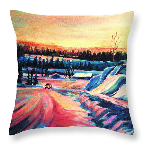 Winterscene Throw Pillow featuring the painting Going Places by Carole Spandau