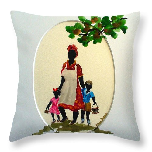 Caribbean Children Throw Pillow featuring the painting Going to school by Karin Dawn Kelshall- Best