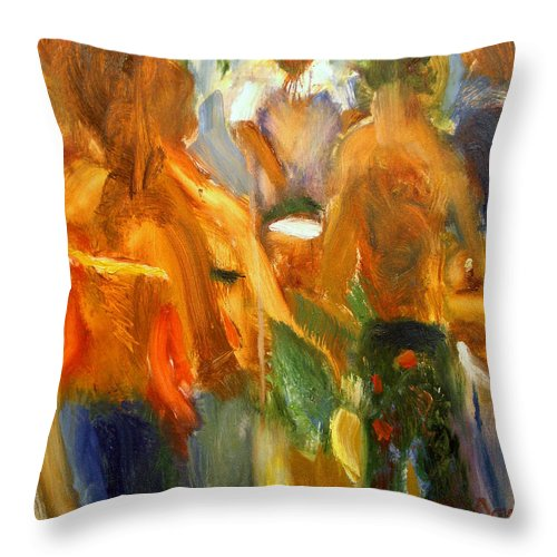 Dornberg Throw Pillow featuring the painting Going To The Beach by Bob Dornberg