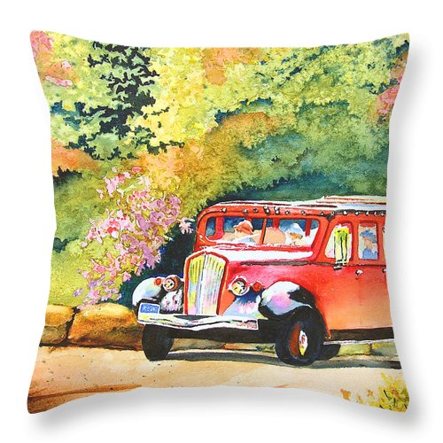 Landscape Throw Pillow featuring the painting Going To The Sun by Karen Stark