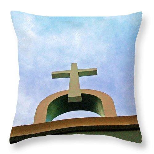 Cross Throw Pillow featuring the photograph Going Up by Debbi Granruth