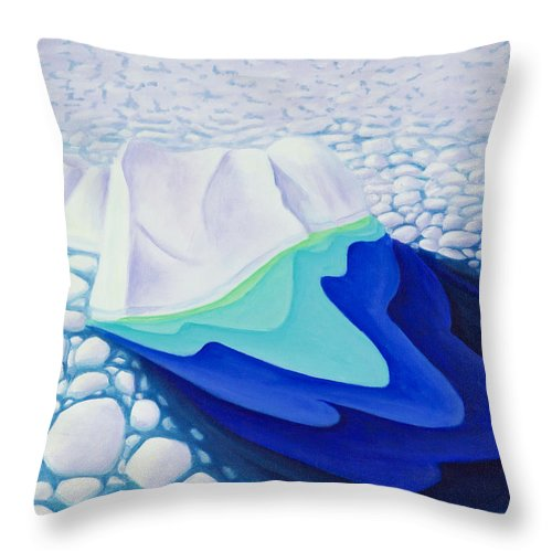 Arctic Throw Pillow featuring the painting Going With The Floe by Lynn Soehner