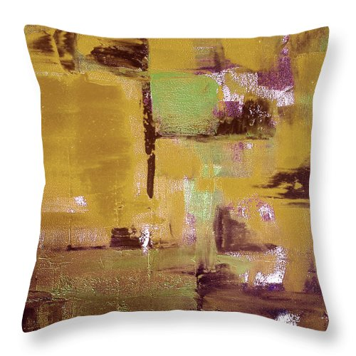 Abstract Throw Pillow featuring the painting Gold Abstract by Gina De Gorna