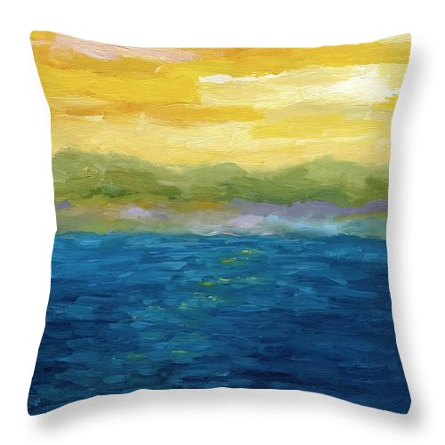Lake Throw Pillow featuring the painting Gold And Pink Sunset by Michelle Calkins