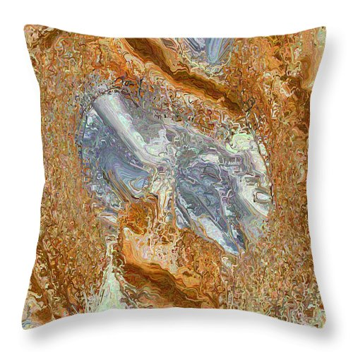 Abstract Digital Art Throw Pillow featuring the digital art Gold And Silver by Charmaine Zoe
