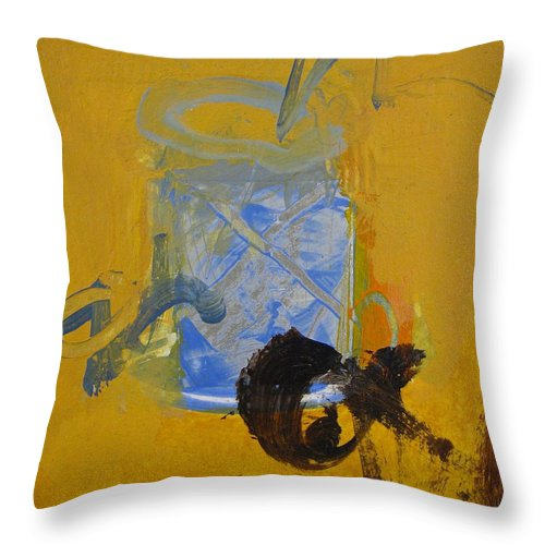 Abstract Painting Throw Pillow featuring the painting Gold by Cliff Spohn