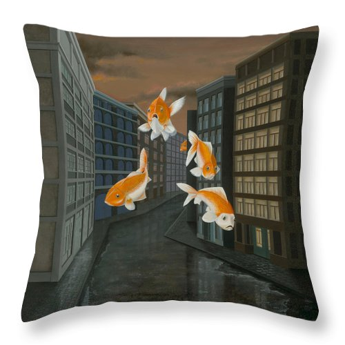 Fish Throw Pillow featuring the painting Gold Fish by Patricia Van Lubeck