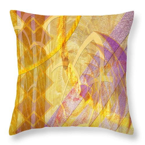 Gold Fusion Throw Pillow featuring the digital art Gold Fusion by John Beck