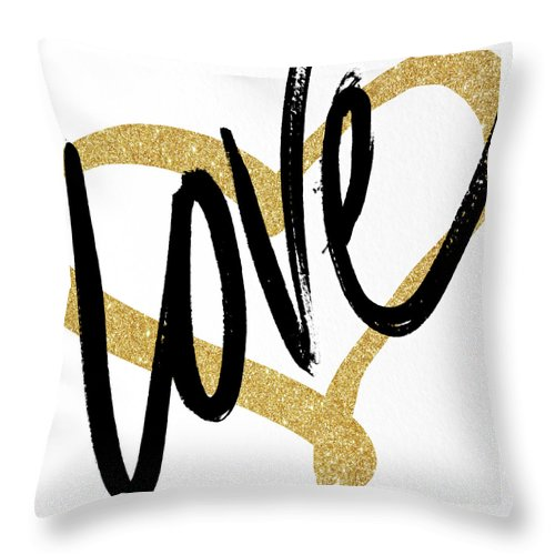 Gold Throw Pillow featuring the painting Gold Heart Black Script Love by South Social Studio