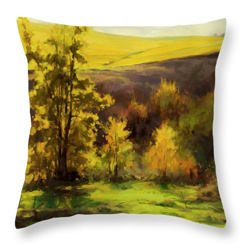 Landscape Throw Pillow featuring the painting Gold Leaf by Steve Henderson
