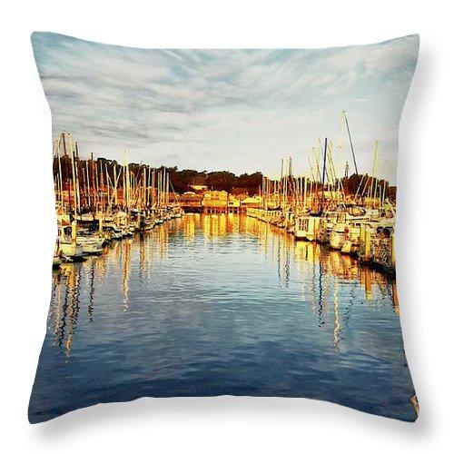 Sunrise Throw Pillow featuring the photograph Gold Light, Monterey Marina by Zayne Diamond Photographic