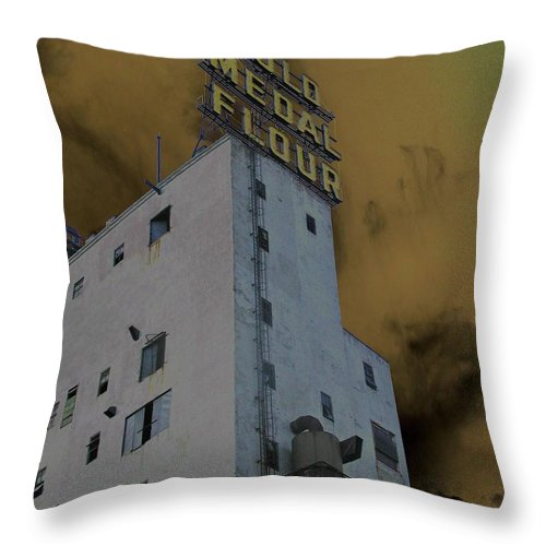 Minneapolis Throw Pillow featuring the photograph Gold Medal Flour by Tom Reynen