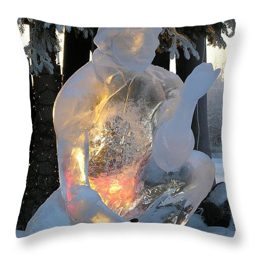 Ice Sculpture Throw Pillow featuring the photograph Gold Miner by Louise Magno