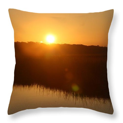 Glow Throw Pillow featuring the photograph Gold Morning by Nadine Rippelmeyer