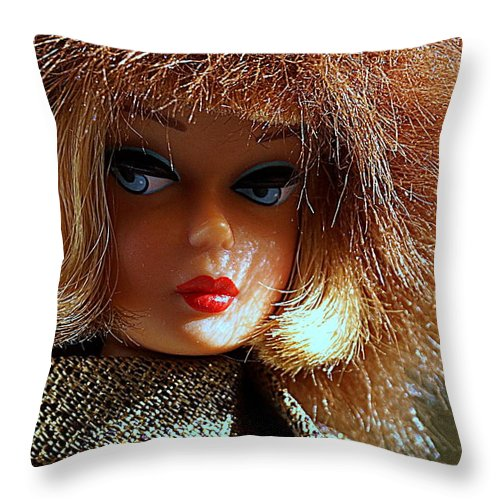 Barbie Throw Pillow featuring the sculpture Gold N Glamour by Georgia's Art Brush