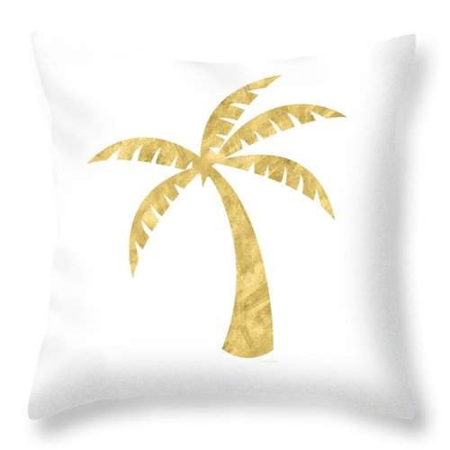 Palm Tree Throw Pillow featuring the mixed media Gold Palm Tree- Art by Linda Woods by Linda Woods