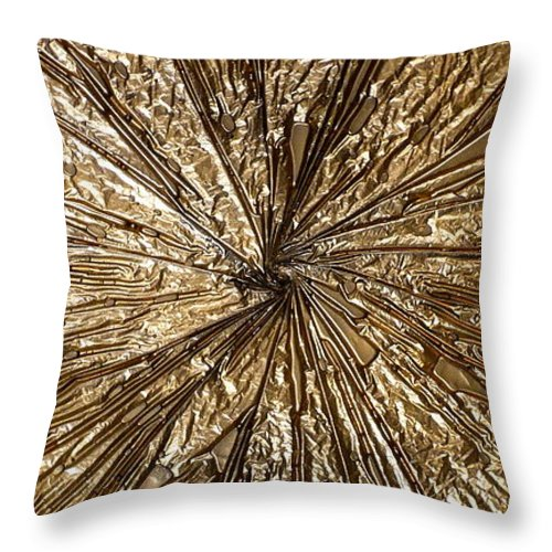 Abstract Throw Pillow featuring the painting Gold Spin by Rick Silas