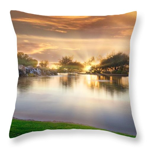 Gole Throw Pillow featuring the photograph Gold Sunset At The Lake by Patrick Zerarka