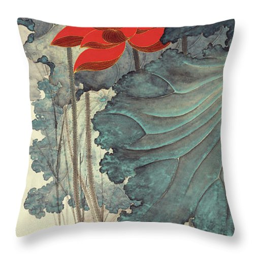 Zhang Daqian (10 May 1899 – 2 April 1983) Was One Of The Best-known And Most Prodigious Chinese Artists Of The Twentieth Century. Originally Known As A Guohua (traditionalist) Painter Throw Pillow featuring the painting Gold Thread Lotus by Zhang Daqian