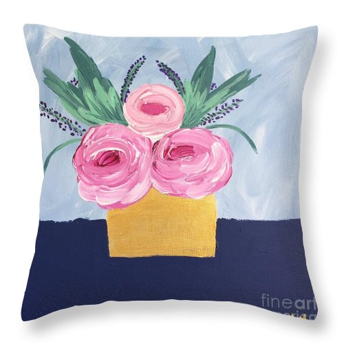 Gold Vase Throw Pillow featuring the painting Gold Vase by Marti Magna