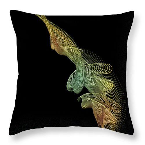 Gold Throw Pillow featuring the digital art Gold Wire Abstract by Ann Garrett