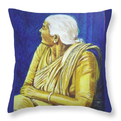 Usha Throw Pillow featuring the painting Golden Age 1 by Usha Shantharam