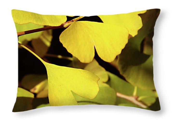Ginkgo Throw Pillow featuring the photograph Golden Autumn In Tokyo by Delphimages Photo Creations