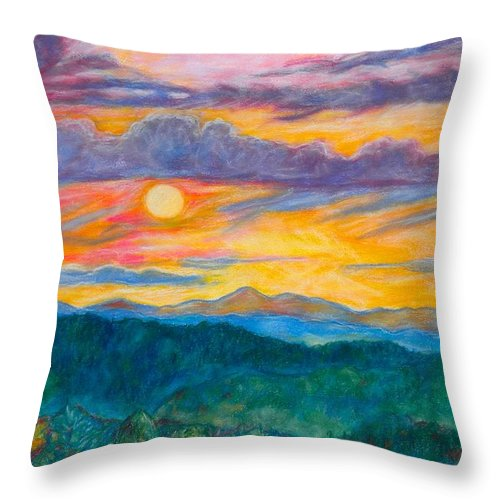 Landscape Throw Pillow featuring the painting Golden Blue Ridge Sunset by Kendall Kessler