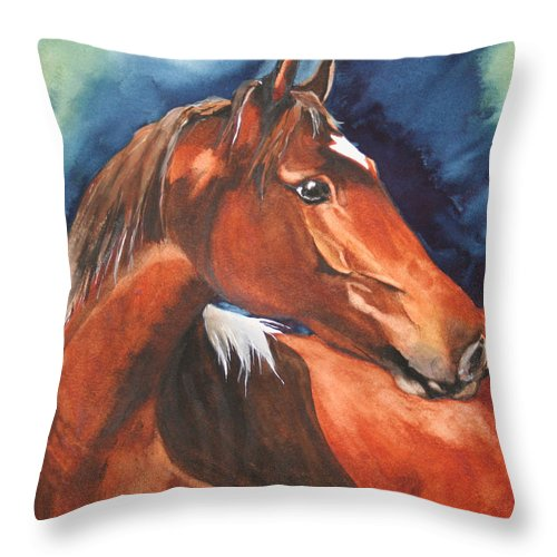 Horse Throw Pillow featuring the painting Golden Boy by Jean Blackmer