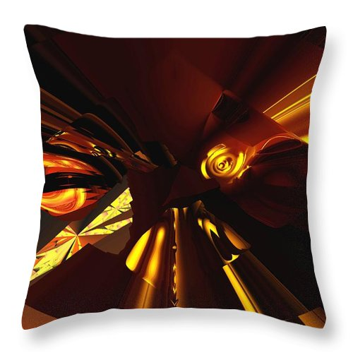 Abstract Throw Pillow featuring the digital art Golden Brown Abstract by David Lane