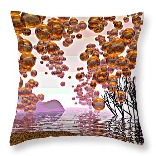 Bubbles Throw Pillow featuring the digital art Golden Bubbles by Alexandra Cook