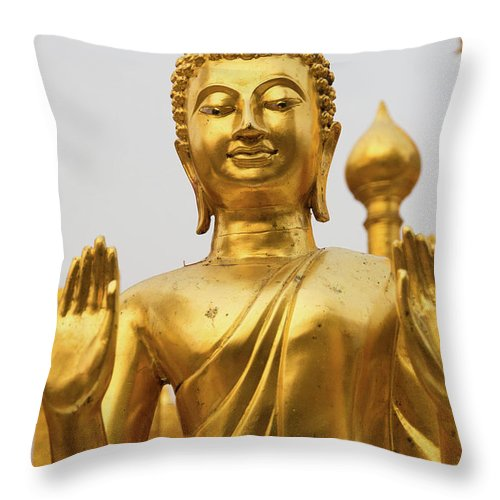 Asia Throw Pillow featuring the photograph Golden Buddha by Emily M Wilson