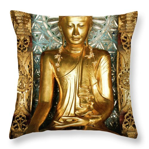 Asia Throw Pillow featuring the photograph Golden Buddha by Michele Burgess